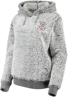 Women's Heathered Gray Wisconsin Badgers Sherpa Inside & Out Pullover Hoodie