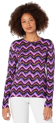 J.Crew Groovy Chevron Printed Tippi (Purple Umber) Women's Sweater