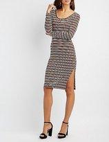 Charlotte Russe Striped Scoop Neck Midi Dress