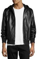Rag & Bone Christopher Black Leather Hooded Bomber Jacket, Black