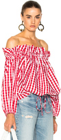 Marques Almeida Marques ' Almeida for FWRD Off Shoulder Gingham Blouse in Red,Checkered & Plaid.