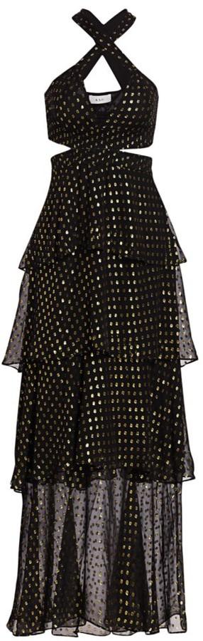 A.L.C. Lita Silk-Blend Metallic Dot Print Tiered Dress