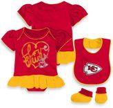 NFL Kansas City Chiefs 3-Piece Girl Creeper Bib and Bootie Set