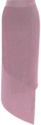 Stella McCartney Asymmetric Layered Metallic Stretch-knit Skirt