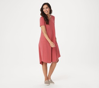 LOGO by Lori Goldstein Cotton Slub Dress with Tie Back Neck