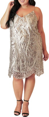 Maree Pour Toi V-Neck Sequin Shift Dress