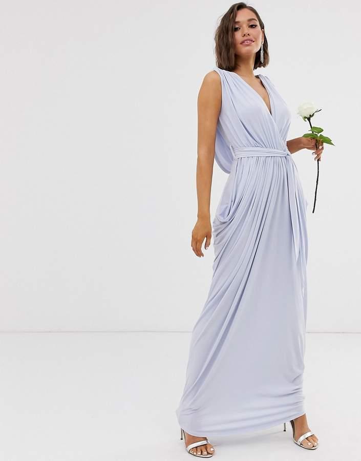 Club L London slinky cowl back bridesmaid maxi dress