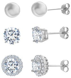 Bliss 18k White Gold Sterling Silver Cz Halo Ball Trio Post Earring Set.