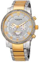 Akribos XXIV Men's Swiss Quartz Multi-Function Two-Tone Diamond Bracelet Watch - 0.06 ctw