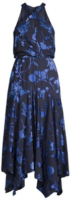 Parker Black Sierra Floral Halter Handkerchief Dress