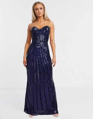 Goddiva bandeau embellished maxi dress with thigh split in navy