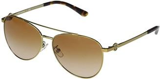 Tory Burch 58 mm TY6074 Aviator Metal Sunglasses (Shiny Gold Metal 2) Fashion Sunglasses
