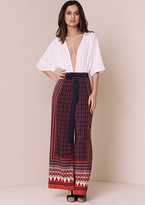 Missy Empire Allyson Rust Printed Wide Leg Trousers