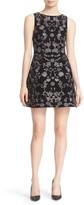 Alice + Olivia &Lindsey Pouf& Embroidered Sheath Dress