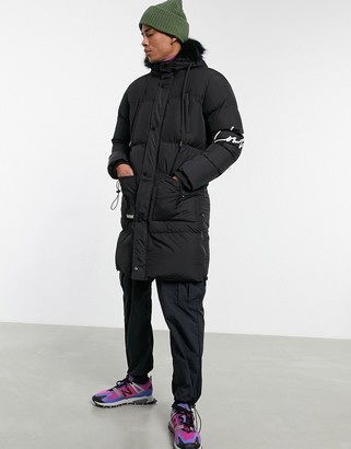 The Couture Club longline paneled puffer jacket in black