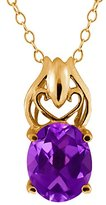 Gem Stone King 4.60 Ct Oval Amethyst 18k Yellow Gold Pendant