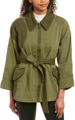 Current/Elliott The Relaxed Military Linen-Blend Jacket