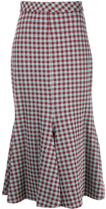Rosetta Getty Gingham Flared Midi Skirt