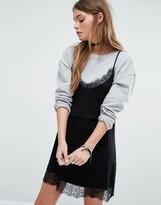 Pull&Bear Lace Trim Cami Slip Dress