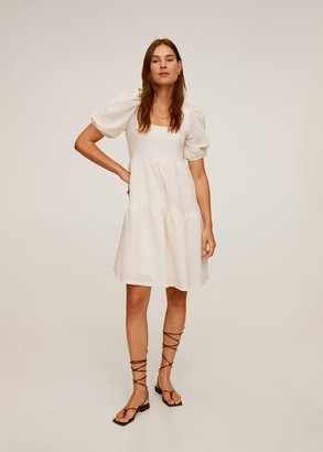 MANGO Textured ruffled dress off white - 4 - Women