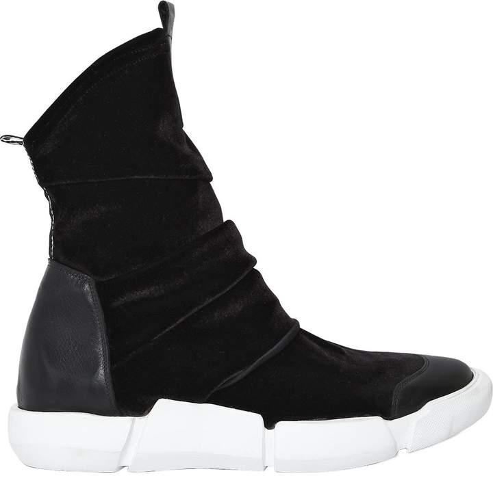 Elena Iachi 20mm Velvet & Leather Sneakers