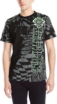 Southpole Men's Flock and Print Tee with Patterns and Asymmetric Vertical Logo