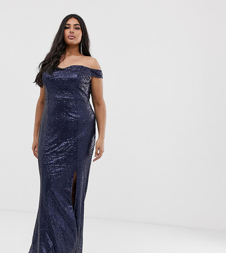 Club L London Plus Plus all over sequin bardot thigh split maxi dress-Navy
