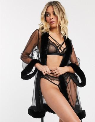 ASOS DESIGN faux fur trim and mesh robe