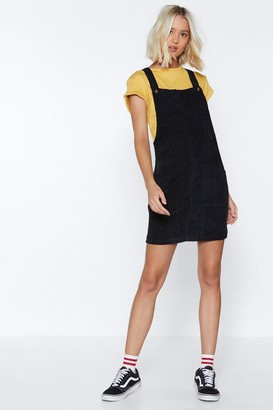 Nasty Gal Womens Hitting All the Right Notes Cord Pinafore Dress - black - 8
