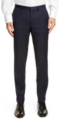BOSS Wave Flat Front Solid Wool Trousers