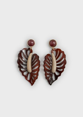 Giorgio Armani Leaf-Shaped Earrings With Central Detail