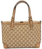 Gucci Beige Leather GG Supreme Canvas Tote Bag