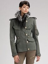Fox Fur Collar Military Jacket