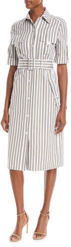 Derek Lam Button-Front Short-Sleeve Striped Utility Shirtdress