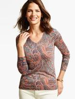 Talbots Merino Wool V-Neck Sweater - Sophisticated Paisley