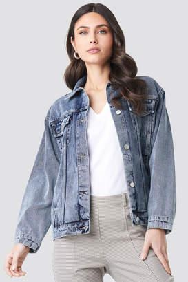 NA-KD Long Oversized Denim Jacket Blue