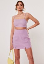 Missguided Lilac Co Ord Linen Blend Crop Top