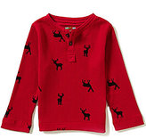 Class Club Adventure Wear by Little Boys 2T-6 Thermal Moose Print Henley