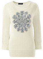 Classic Women's Petite Supima 3/4 Sleeve Intarsia Sweater-Black Snowflake