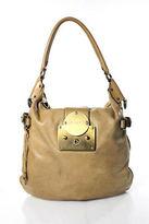 Joseph Light Brown Leather Brass Tone Hobo Shoulder Handbag