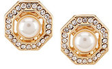 Anne Klein Faux-Pearl & Crystal Hexagon Clip-On Stud Earrings