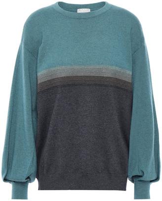 Brunello Cucinelli Bead-embellished Metallic-trimmed Cashmere Sweater