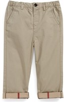 Burberry 'Ricky' Check Lined Roll Cuff Pants (Baby Boys)