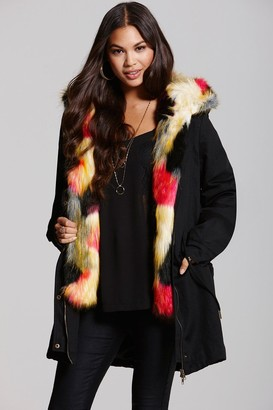 Little Mistress Black and Multi Coloured Faux Fur Trench Coat