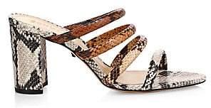 Schutz Women's Felisa Strappy Snakeskin-Print Leather Mules