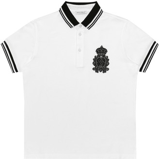 Dolce & Gabbana Kids Embroidered cotton polo shirt