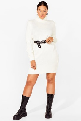 Nasty Gal Womens On a Roll Neck Plus Knit Mini Dress - White - 16