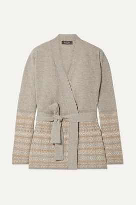 Loro Piana Belted Fair Isle Cashmere Cardigan - Neutral