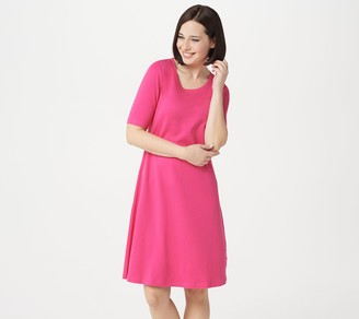 Isaac Mizrahi Live! Regular Essentials Pima Cotton Elbow- Sleeve Dress