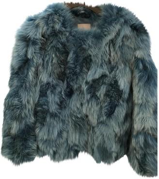 Pinko Turquoise Fur Coat for Women